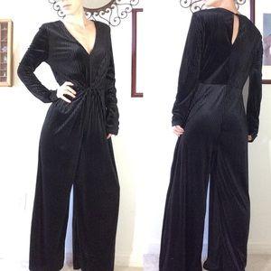 Lush Black Velvet Stretchy Jumpsuit